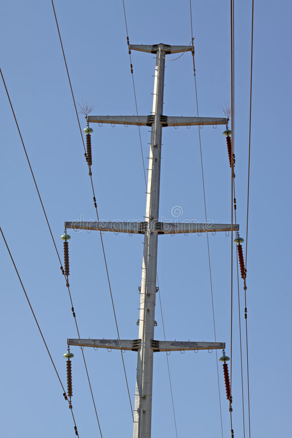 Transmission lines. In the blue sky royalty free stock images