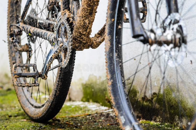 Transmission of a Mountain Bike in the Mud stock photo