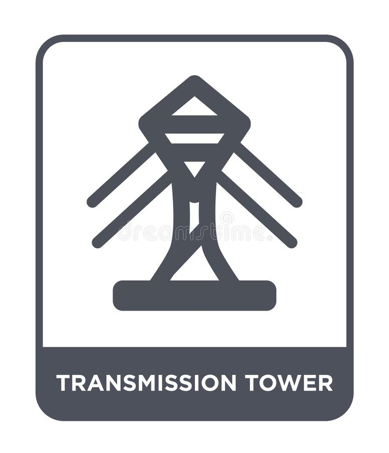 transmission tower icon in trendy design style. transmission tower icon isolated on white background. transmission tower vector royalty free illustration