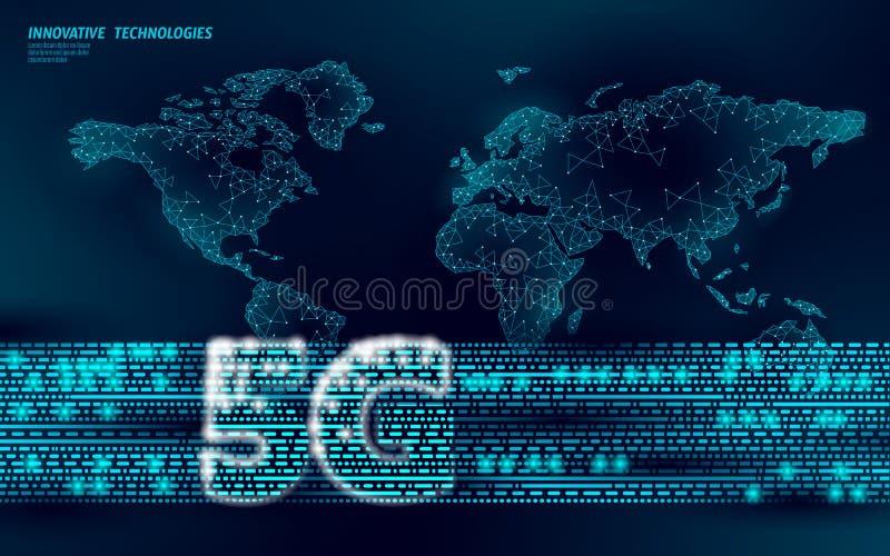 Transmissor global da informação da conexão da Web do Internet do mapa do mundo 5G Antena de rádio móvel de alta velocidade celul ilustração royalty free