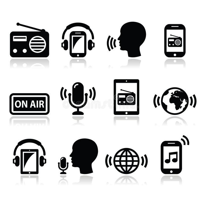 Transmita por rádio, podcast o app nos ícones do smartphone e da tabuleta ajustados ilustração royalty free