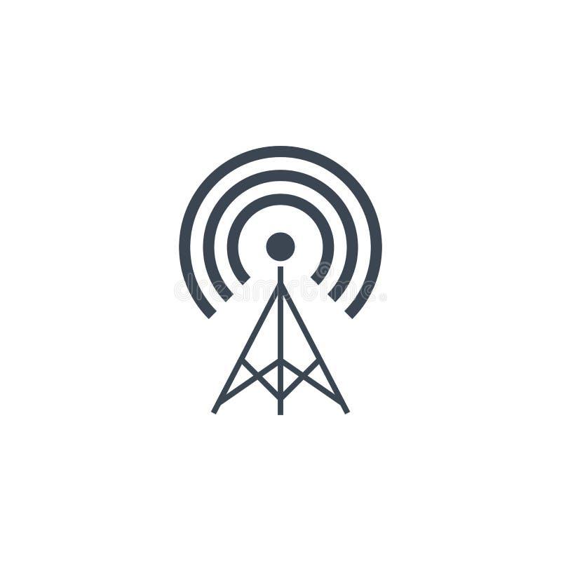 Transmiter bracht vector glyph pictogram met elkaar in verband stock illustratie