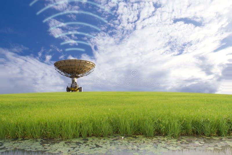 Transmitindo, prato satélite no campo fotos de stock