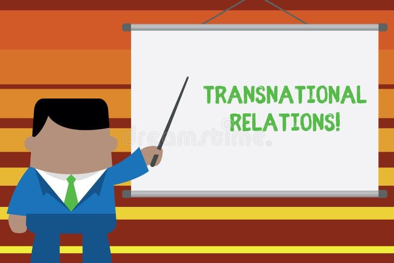 Transnationell f?rbindelse f?r ordhandstiltext Affärsidé för internationell förhållandediplomati för global politik vektor illustrationer