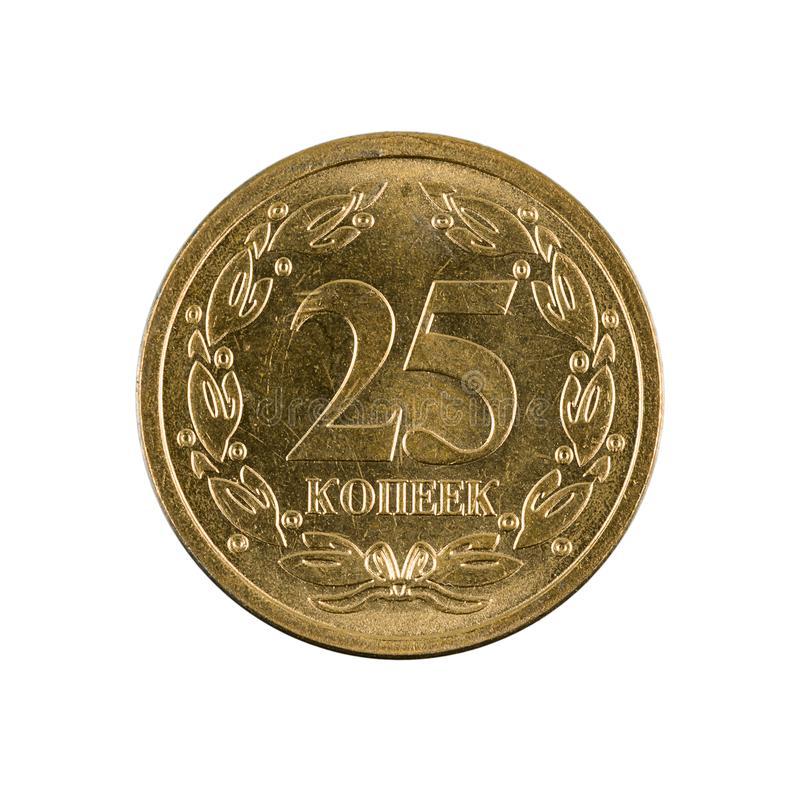 25 transnistrian kopecks coin 2005 obverse isolated on white background. Single 25 transnistrian kopecks coin 2005 obverse isolated on white background stock images