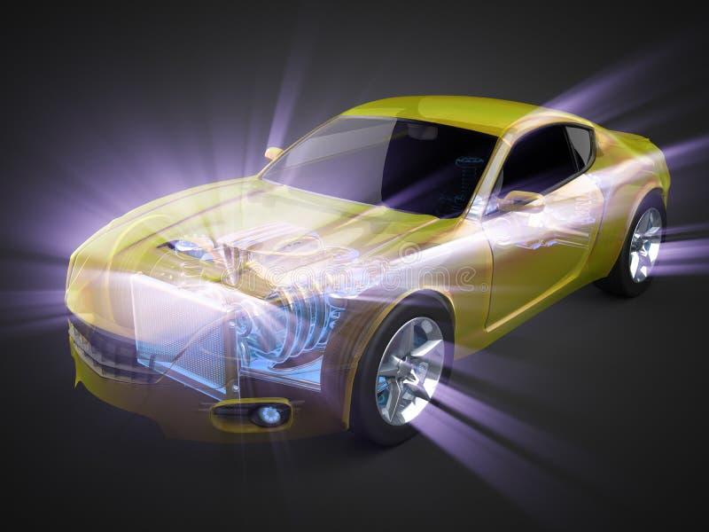 Transparant autoconcept met zichtbare motor en transmissie stock illustratie