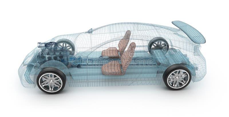 Transparant autoontwerp, draadmodel 3D Illustratie royalty-vrije illustratie