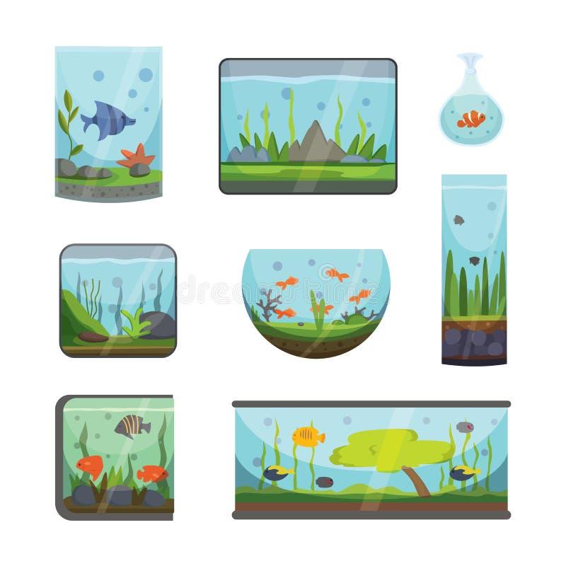Transparant die aquarium op van de het huis onderwatertank van de witte vissenhabitat aquarian de kom vectorillustratie wordt geï vector illustratie