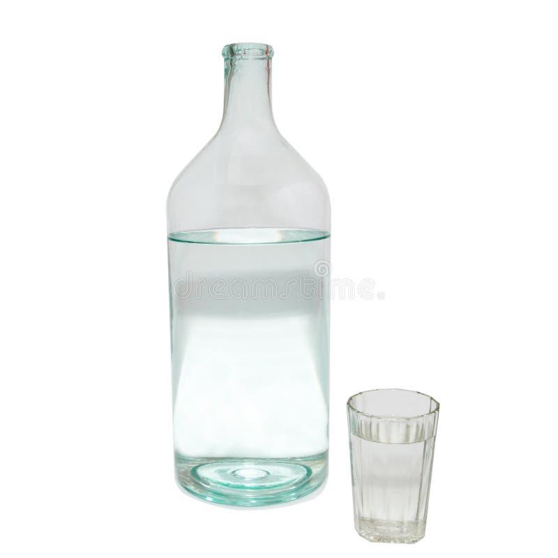 Transparant fles en glas. stock foto