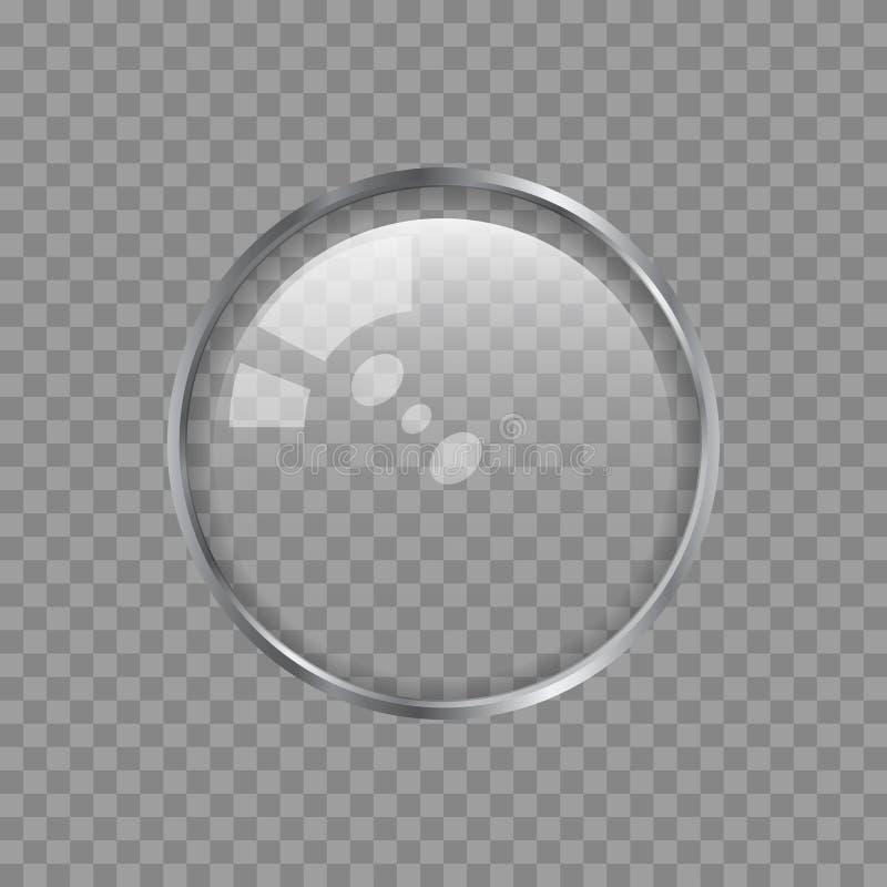 Transparant Metaallens of Glasgebied op een Plaidachtergrond Vectorontwerpelement voor u Ontwerp royalty-vrije illustratie