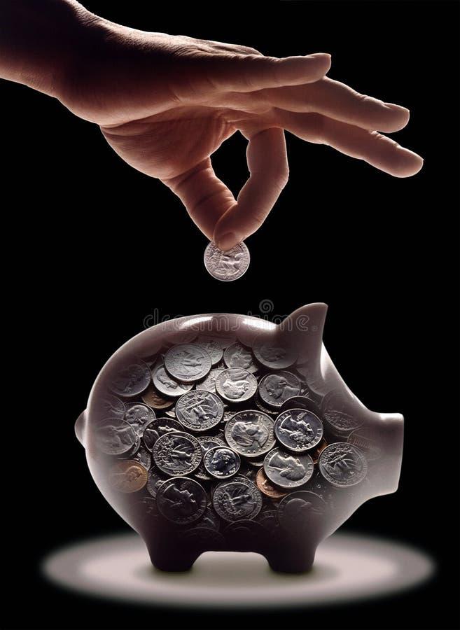 Transparant spaarvarken in biggetjevorm royalty-vrije stock foto's