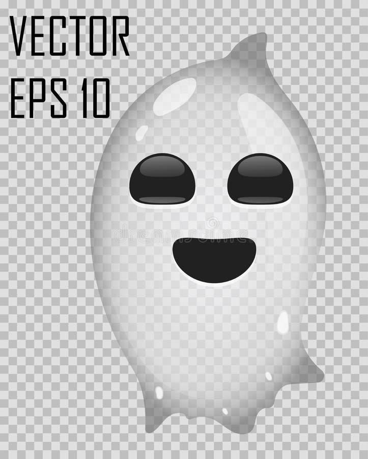 Transparant spook op gecontroleerde achtergrond De vectorillustratie van Halloween royalty-vrije stock foto's