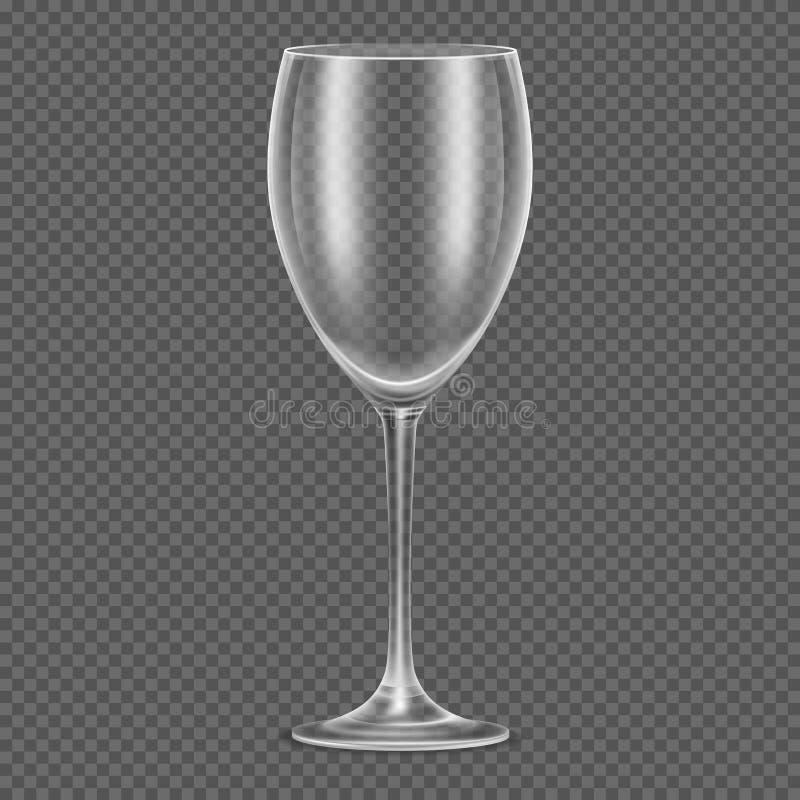 Transparant vector realistisch leeg wijnglas royalty-vrije illustratie