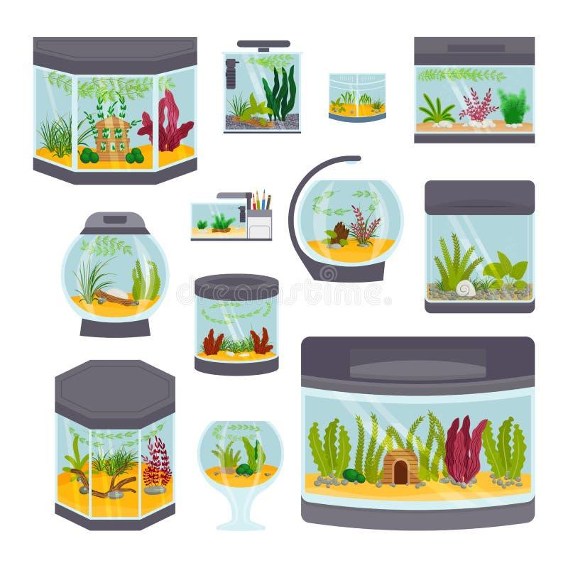 Transparante aquarium binnenlandse vectordieillustratie op de witte kom van de de vissentank van het habitathuis onderwater wordt vector illustratie