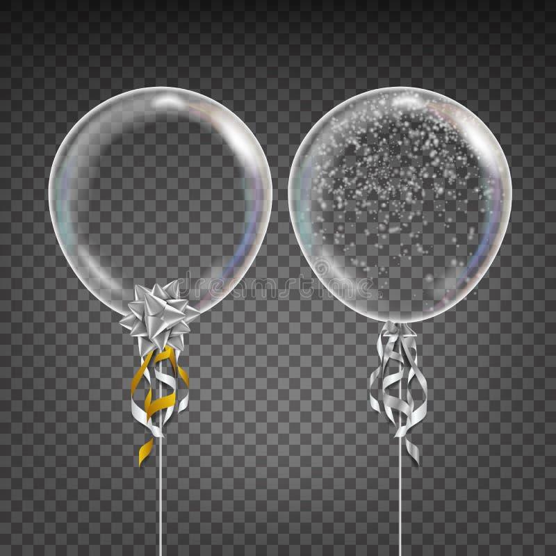Transparante Ballonvector sneeuwvlok Witte Glanzende Impuls in de Lucht Partijdecoratie voor Verjaardag, Huwelijk, Gebeurtenis stock illustratie