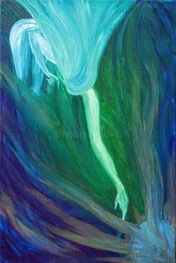 Transparante/blauwe vrouwenbereik/rek uit haar wapen royalty-vrije illustratie