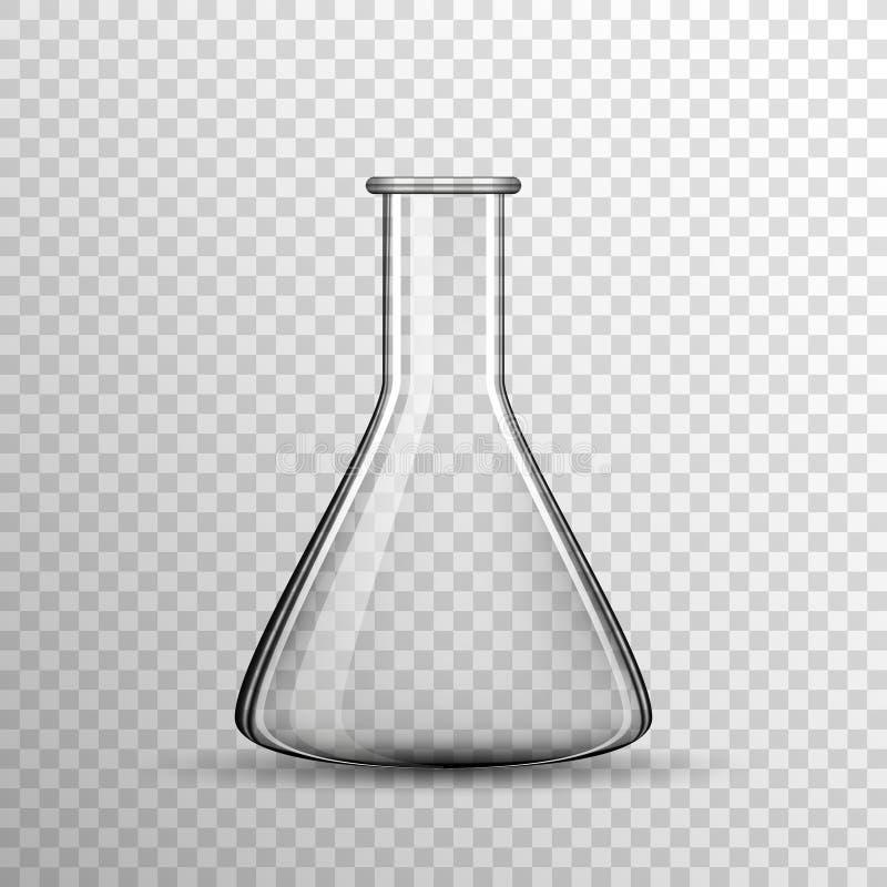 Transparante Chemische glasbol, vectorfles royalty-vrije illustratie