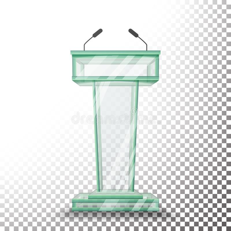 Transparante de Tribunevector van het Glaspodium Rostratribune met Microfoons Op transparante illustratie als achtergrond royalty-vrije illustratie