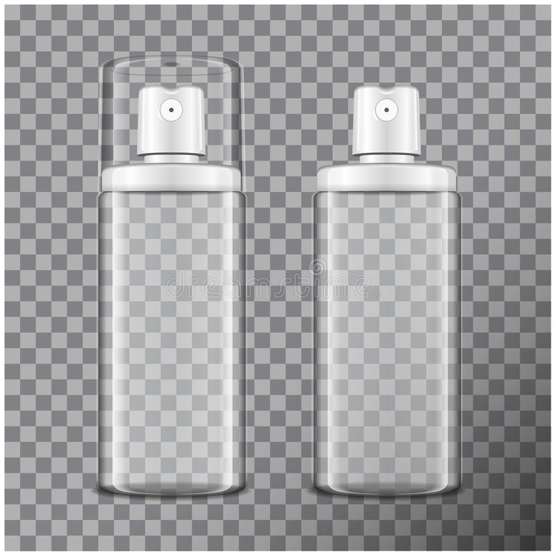 Transparante die fles met verstuiver wordt geplaatst Spot op flessen kosmetisch of medisch flesje, fles, flacon vector 3d illustr vector illustratie