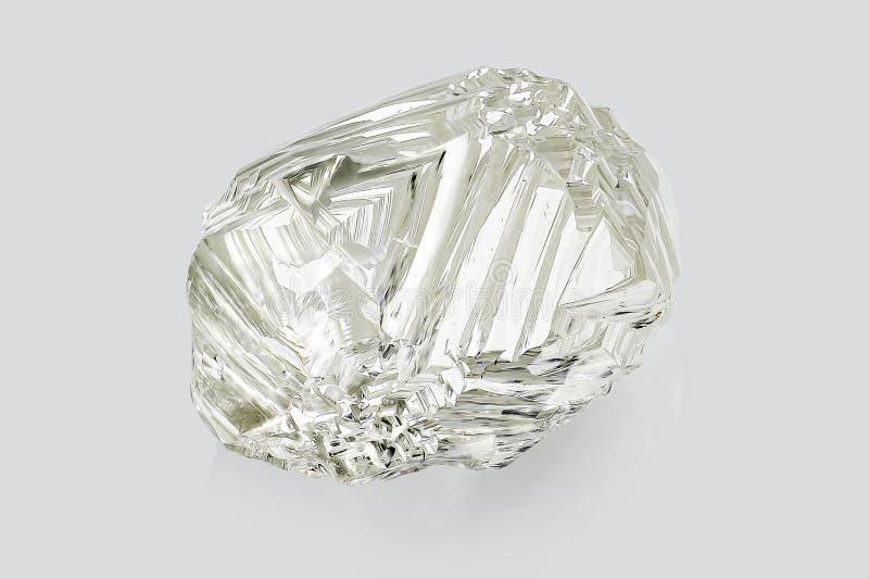 Transparante die ruwe diamant op witte achtergrond wordt geïsoleerd stock afbeeldingen