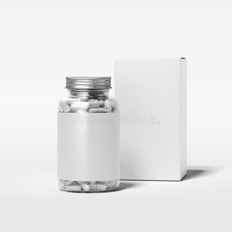 Transparante fles met leeg etiket en witte doos, het 3d teruggeven stock illustratie