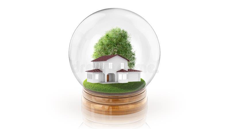 Transparante gebiedbal met modern wit binnen huis het 3d teruggeven stock illustratie