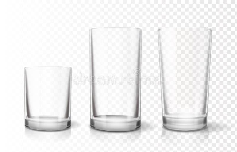 Transparante geplaatste glazendrinkbekers, het vectorpictogram van Relistic vector illustratie