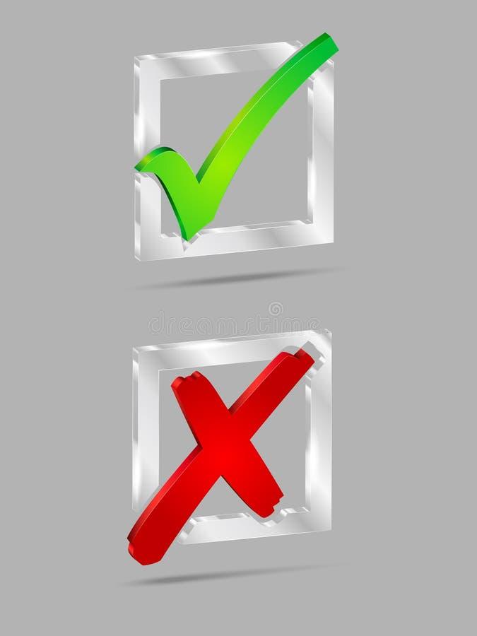 Transparante glas JA/NEE checkboxes vector illustratie