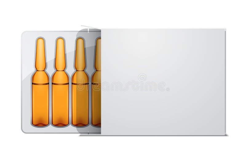 Transparante glas medische ampullen in wit pakket vector illustratie