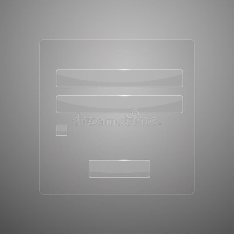 Transparante glas vectorlogin vorm stock illustratie