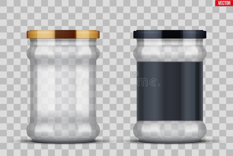 Transparante Glaskruiken voor het inblikken en het bewaren royalty-vrije illustratie