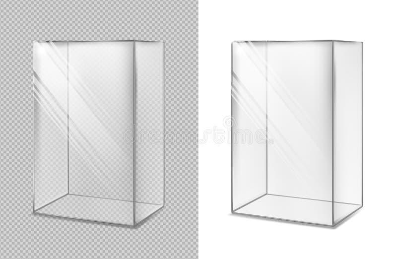 Transparante glaskubus Realistisch aquarium Speciale showcase vector illustratie