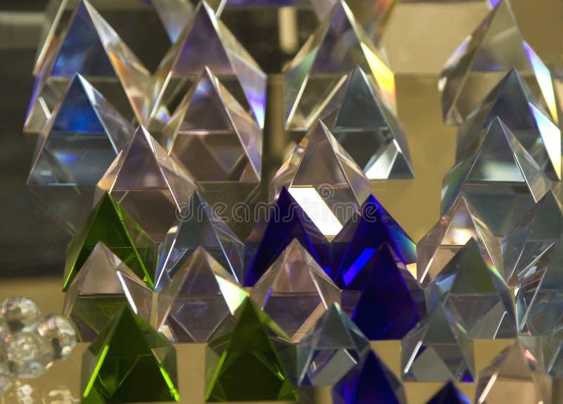 Transparante glaspiramides stock foto's