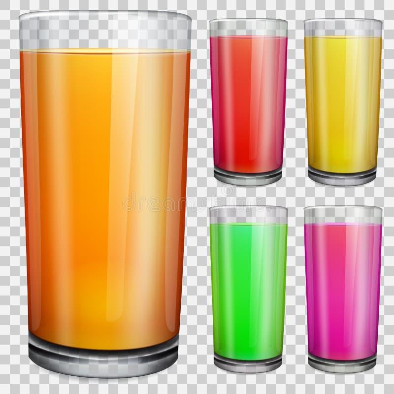 Transparante glazen met ondoorzichtig gekleurd sap stock illustratie