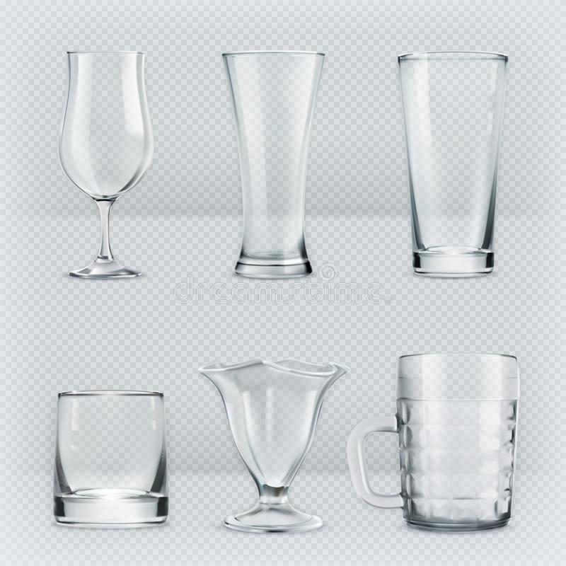Transparante glazendrinkbekers vector illustratie