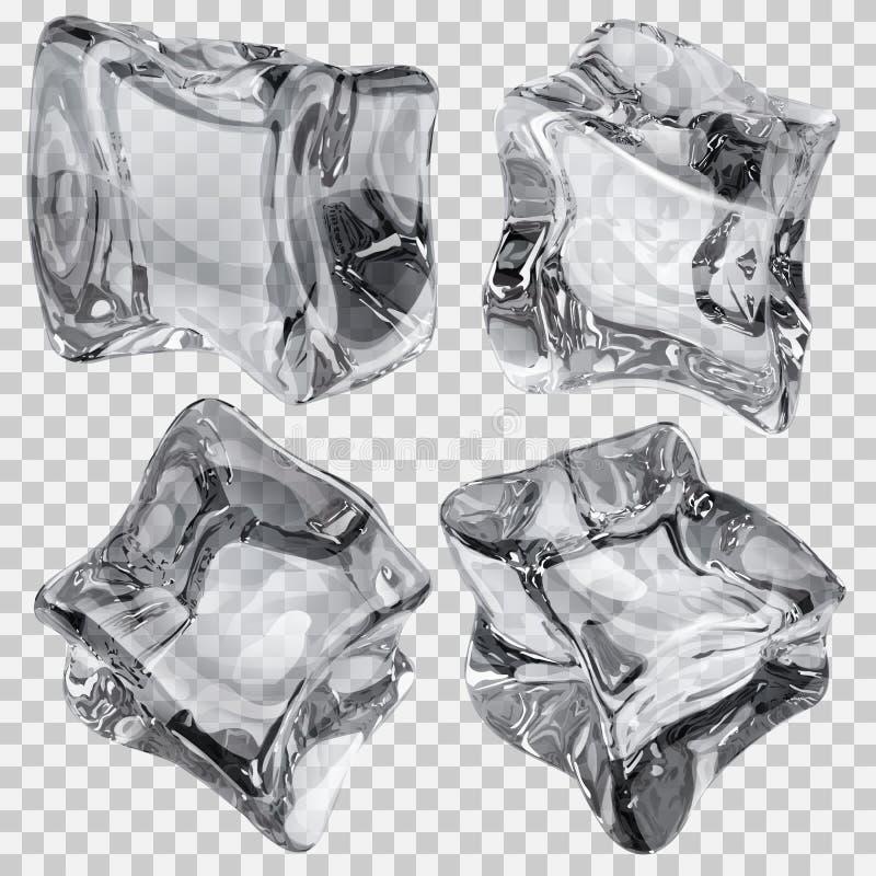 Transparante grijze ijsblokjes royalty-vrije illustratie