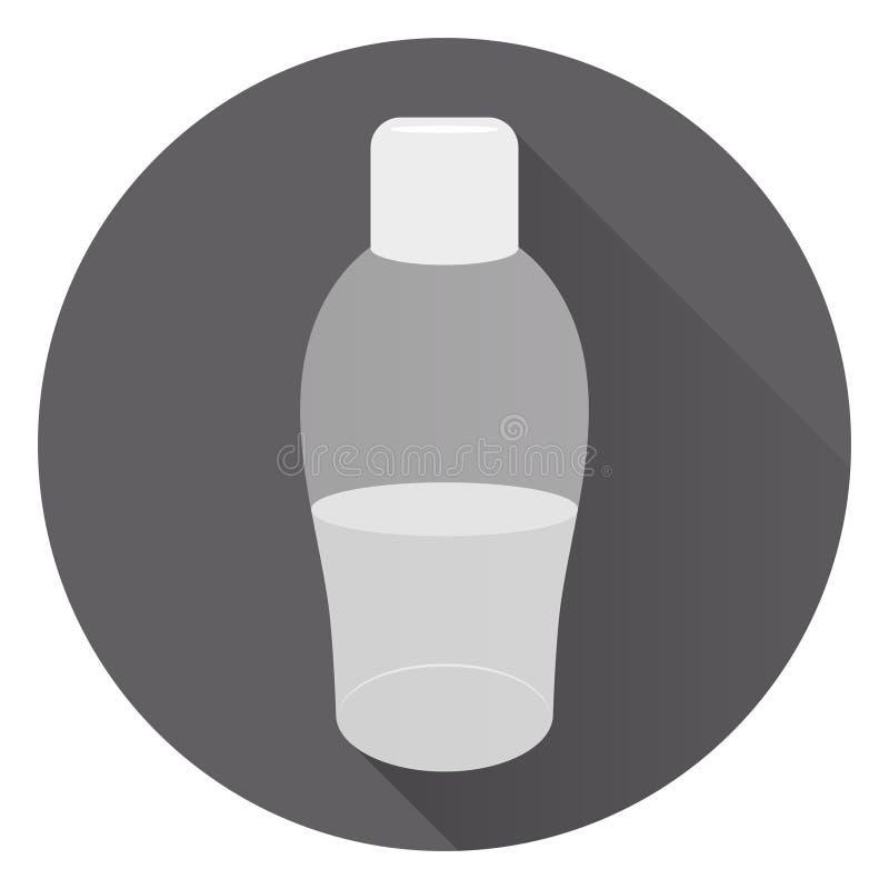 Transparante grote fles vloeibare zeep of lichaamscrème Schuim voor een bad Op ronde donkere achtergrond met schaduw Vlakke stijl vector illustratie