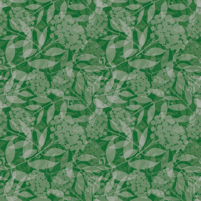 Transparante hand getrokken zilveren lijsterbestakken met bessen Naadloos gelaagd vectorpatroon op groene achtergrond royalty-vrije illustratie