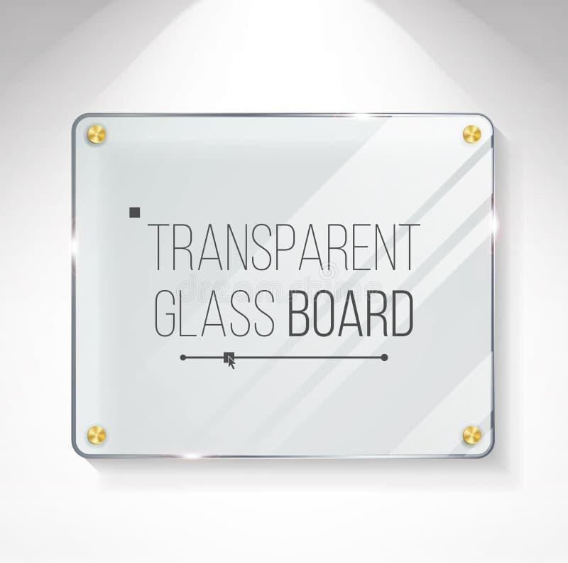 Transparante het Glanzen Glasvector Mooie Lege Glanzende Glasbanner Het hangen op de muur realistisch vector illustratie