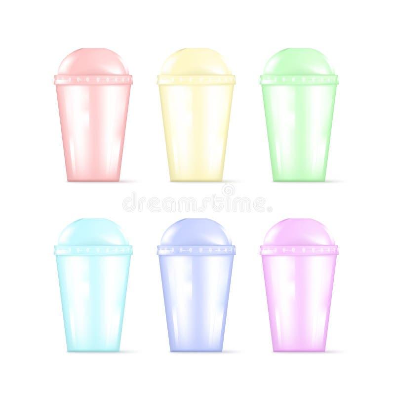 Transparante kleurrijke plastic lege beschikbare kop voor soda of cocktail Beschikbare het vaatwerkreeks van de partij Vector ill vector illustratie