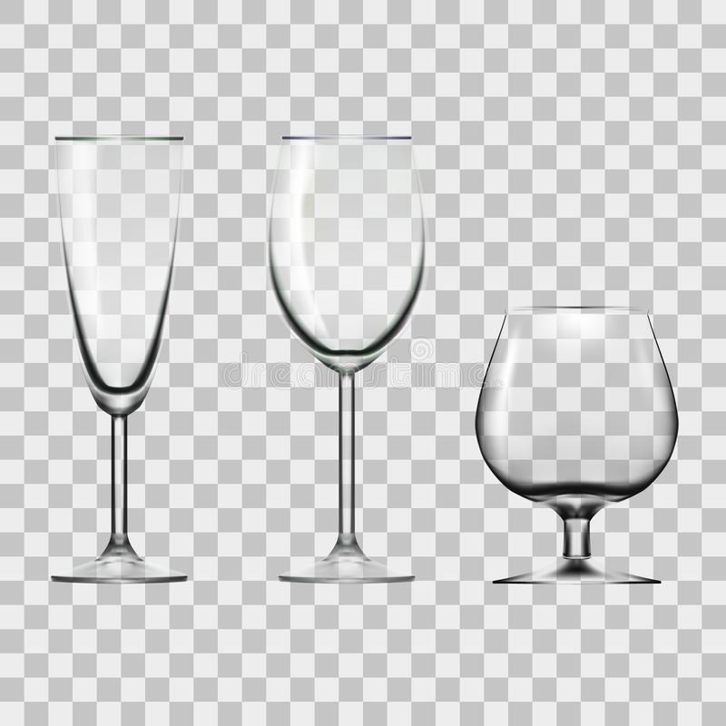 Transparante Lege Wijn, Champagne And Cognac Glass Isolated op Wit royalty-vrije illustratie