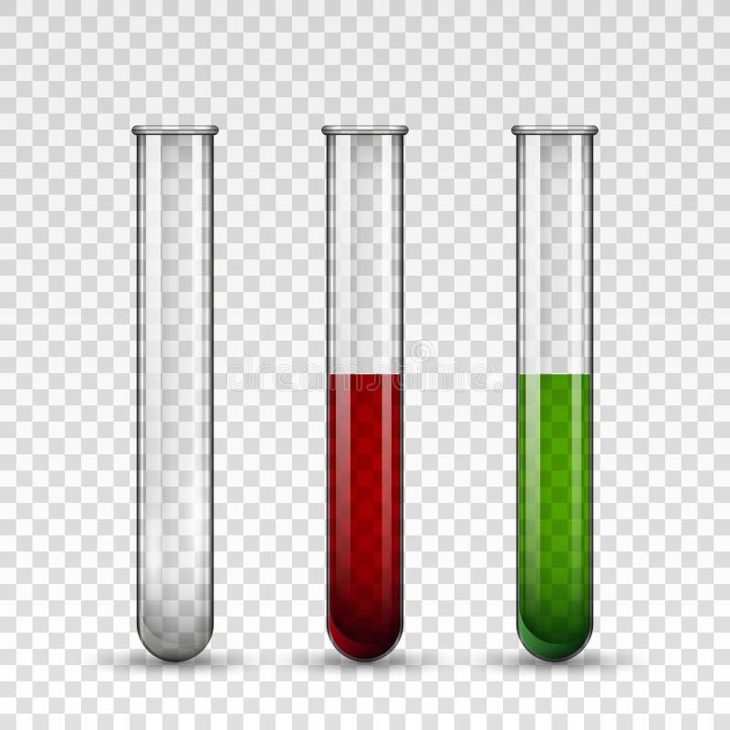 Transparante medische glazen buisreeks stock illustratie