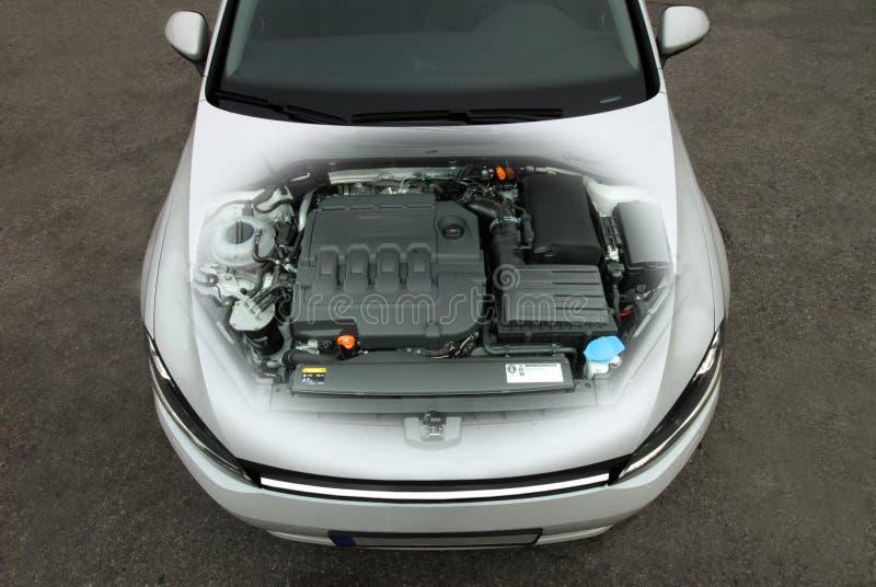 Transparante motor van een auto stock foto's