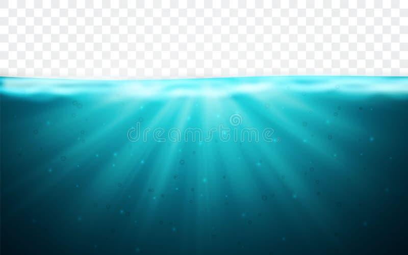 Transparante onderwater blauwe oceaanachtergrond Horizonwaterspiegel Vector illustratie royalty-vrije illustratie