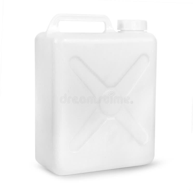 Transparante plastic gallon stock foto