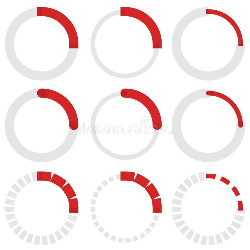 Transparante progress indicators Preloaders, fase, stap indicat vector illustratie