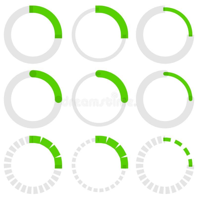 Transparante progress indicators Preloaders, fase, stap indicat stock illustratie