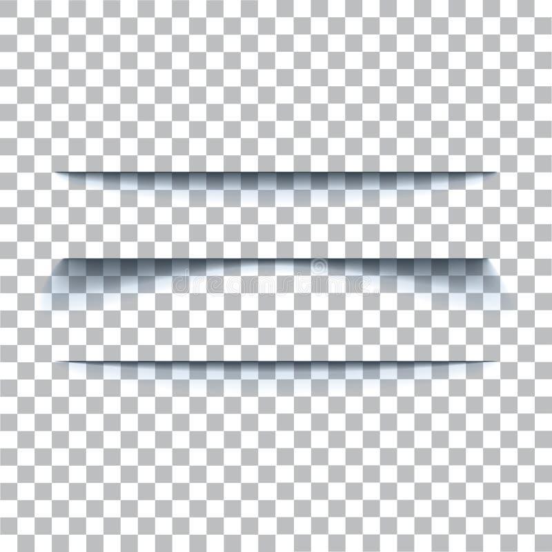 Transparante realistische document schaduweffect reeks De banner van het Web Element voor adverterend en promotiediebericht op tr vector illustratie