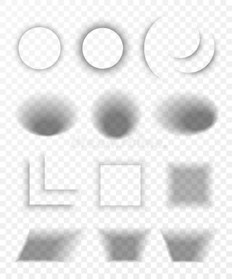 Transparante realistische document schaduweffect reeks De banner van het Web Schaduw voor adverterend en promotiediebericht op tr stock illustratie