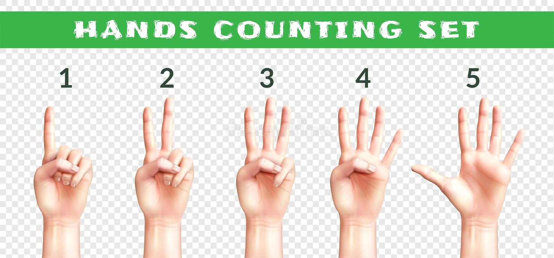 Transparante Reeks van het Tellen van Handen stock illustratie